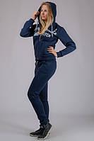 Теплый женский трикотажный спортивный костюм (темно-синий)