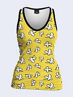Женская 3D  Майка Белые цветочки на желтом
