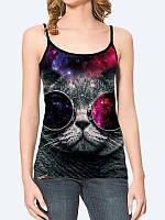 Женская 3D  Майка Серый кот в очках