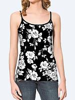 Женская 3D  Майка Черно-белые цветы