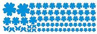 """Наклейка на стену, виниловые наклейки, стикеры """"голубые цветы"""" 106 цветочков и 7 бабочек в наборе (лист20*60)"""