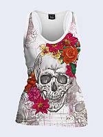 Женская 3D  Майка-борцовка Череп в цветах