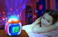 Музыкальные часы с будильником, проектор Звездное небо, детский светильник