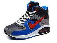 Кроссовки зимние Nike Air Max, унисекс, кожаные, на меху, размеры 37 38