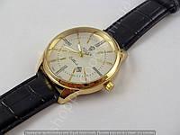 Мужские часы Rolex Cellini 4213 золотистые с черным, серебристый циферблат, календарь