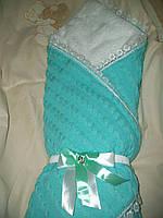 Конверт-одеяло на выписку вязаный теплый на махре. Белый, Бирюза
