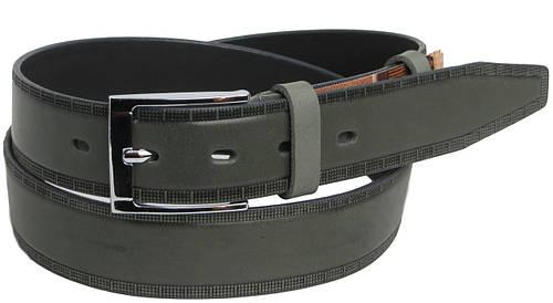 Брючный мужской кожаный ремень 2621 серый ДхШ: 117х3,5 см.