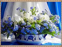 """Алмазная живопись набор """"Цветы синеглазки в вазе"""""""