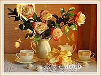 """Вышивка алмазная набор """"Чайная роза с кофейным набором"""""""