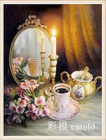 """Алмазная живопись набор """"Зеркало со свечой на столе"""""""