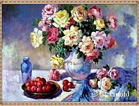 "Алмазная вышивка ""Цветочная ваза с фруктами на столе"""