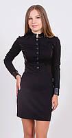 Платье женское с кожаными вставками черное, фото 1