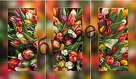 Триптих для вышивки бисером на полотне «Тюльпаны»