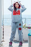 """Оригинальный женский спортивный костюм """"Buddha CAT"""" с ушками на капюшоне (большие размеры)"""
