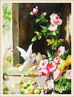 """Алмазная мозаика """"Картина с цветами и голубями"""""""