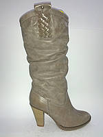 Кожаные бежевые женские евро зимние модные удобные стильные сапоги Vizzavi