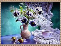 """Алмазная вышивка """"Чайная чашка и букет цветов"""""""