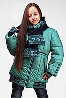 Зимнее пальто Лолита бирюзовое на девочку 122 р