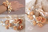 """""""Нежный персик"""" браслет/веточка на руку с цветами из полимерной глины"""
