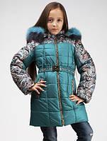 Красивое теплое зимнее пальто синее на девочку 122,128,134 р.