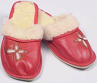 """Тапочки женские кожаные """"красные"""""""