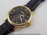 Мужские часы Omega 7850 золото с черным ремешком, календарь