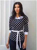 Блузка  трикотажная в горошек