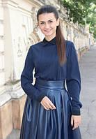 Блузка тёмно синяя чёрный воротник