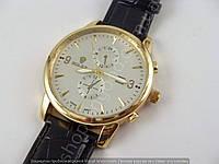 Мужские часы Rolex 6295 золотистые с черным, серебристый циферблат, календарь