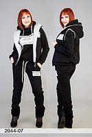Женский спортивный костюм тройка жилетка с мехом батал
