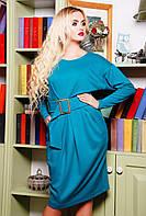 """Шикарное платье с рукавами """"летучая мышь"""" красиво подчеркивает талию, осеннее, трикотажное, длинный рукав 42"""