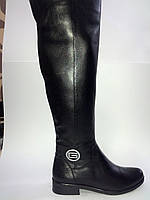 Кожаные женские черные евро зимние удобные стильные сапоги ботфорты, устойчивый каблук 37 Gama