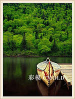 """Набор для алмазной живописи """"Лодка у причала на фоне леса"""""""