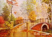 """Алмазная живопись """"Осенний мост в парке"""""""