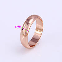 Обручальное кольцо 6 mm, ювелирная бижутерия 24k