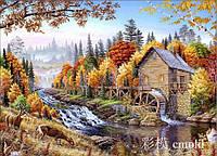 """Набор для алмазной живописи """"Водяная мельница на фоне осеннего леса"""""""