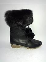 Кожаные черные женские зимние стильные удобные полусапожки на низком ходу 40р