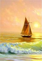 """Алмазная мозаика """"Лодка с парусом у берега"""""""