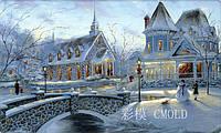 """Алмазная вышивка набор """"Маленький американский городок зимой"""""""