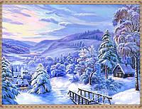 """Набор для рисования камнями """"Прекрасный зимний лес с домиками на фоне гор"""""""