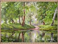 "Набор для рисования камнями ""Пейзаж весенний лес у озера"""
