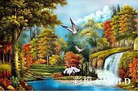 """Алмазная живопись """"Водопад в осеннем лесу"""""""