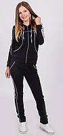 Трикотажный женский спортивный костюм  черный, фото 1