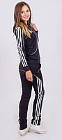 Трикотажный женский спортивный костюм темно-серый, фото 1