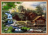 """Алмазная живопись """"Деревянный домик в лесу у водопада"""""""