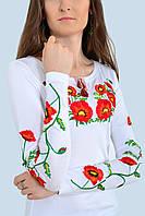 Отличная женская футболка с длинным рукавом вышитая маками