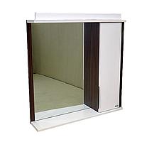 """Зеркало для ванной комнаты с подсветкой и шкафчиком """"Лаконика"""" 80 см (цвет - дуб зибрано)"""