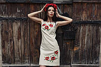Сукня з льону з вишивкою Маки