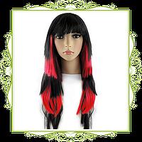 Парик длинные волосы черно-красный