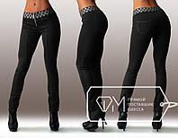 Узкие брюки-леггинсы с широким поясом